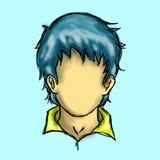 Homem azul do caráter do cabelo Imagem de Stock Royalty Free