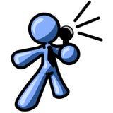 Homem azul que fala no mic ilustração do vetor