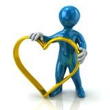 Homem azul que guarda o anel dourado da forma do coração Imagem de Stock Royalty Free