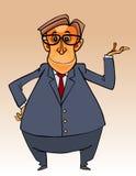 Homem barrigudo do personagem de banda desenhada em um terno e um laço e uns vidros Foto de Stock