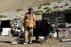 Homem beduíno idoso de Ladakh (India) Fotos de Stock Royalty Free