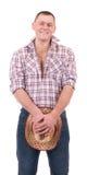 Homem bonito com chapéu de cowboy Imagens de Stock