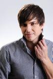 Homem bonito com penteado reto Foto de Stock Royalty Free