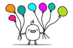 Homem bonito feliz dos desenhos animados que guarda balões de ar coloridos Cart?o do feliz aniversario do vetor ilustração do vetor