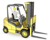 Homem branco abstrato em um caminhão de forklift Foto de Stock Royalty Free