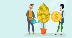 Homem branco caucasiano novo que molha a árvore financeira ilustração royalty free
