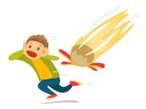 Homem branco caucasiano que corre do meteorito de queda ilustração stock