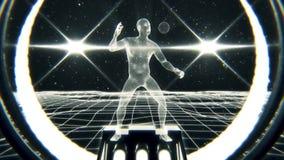 homem branco de 3D Wireframe no fundo do movimento do laço do Cyberspace VJ ilustração do vetor