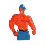 Homem bronzeado forte macho em um tampão, desenhos animados em um fundo branco ilustração royalty free