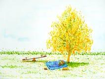 Homem, cão que dorme sob o céu brilhante floral da flor amarela da árvore Fotografia de Stock