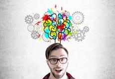 Homem, cérebro e engrenagens surpreendidos Fotos de Stock