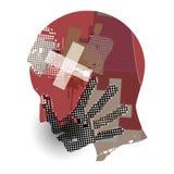 Homem, cabeça sem fôlego do sangue ilustração do vetor