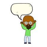 homem calvo forçado desenhos animados com bolha do discurso Fotografia de Stock