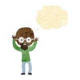 homem calvo forçado desenhos animados com bolha do pensamento Foto de Stock