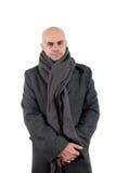 Homem calvo no revestimento e no lenço da mistura de lã Fotos de Stock