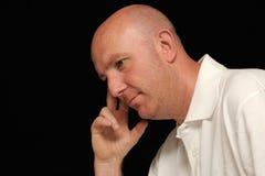 Homem calvo pensativo   Fotografia de Stock