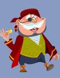 Homem carnudo alegre dos desenhos animados em um traje do pirata Fotografia de Stock