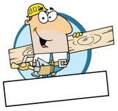 Homem caucasiano do trabalhador uma prancha de madeira ilustração do vetor