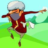 Homem caucasiano dos desenhos animados que dança fora Imagens de Stock