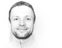 Homem caucasiano novo de sorriso, retrato do close up fotografia de stock royalty free