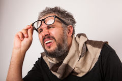Homem cego mal-humorado idoso imagens de stock