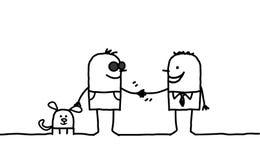 Homem cego que agita a mão com o outro homem ilustração royalty free