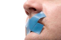 Homem censurado com fita azul Fotografia de Stock
