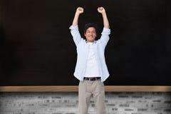 Homem Cheering com braços acima Foto de Stock Royalty Free