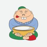Homem chinês dos desenhos animados que senta-se com uma placa Imagens de Stock Royalty Free