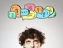 Homem com ícones de uma comunicação Fotos de Stock Royalty Free