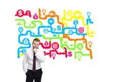 Homem com ícones do negócio Fotografia de Stock