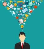 Homem com ícones Estudante com ilustração lisa das ideias Imagens de Stock