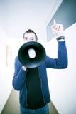 Homem com altifalante Fotografia de Stock Royalty Free