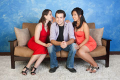 Homem com amigas Fotos de Stock Royalty Free