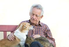 Homem com animais de estimação Fotografia de Stock Royalty Free