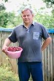 Homem com as cerejas no jardim imagens de stock