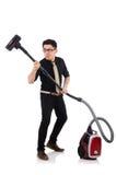 Homem com aspirador de p30 Foto de Stock