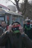 Homem com bandeira líbio 1 Imagem de Stock