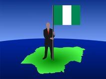Homem com bandeira nigeriana Foto de Stock Royalty Free