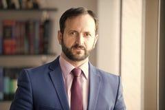 Homem com a barba no casaco azul, na camisa e no laço foto de stock royalty free