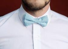 Homem com a barba que corrige seu bowtie Fotos de Stock Royalty Free