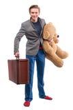 Homem com bicho de pelúcia Foto de Stock Royalty Free