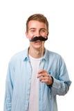 Homem com bigodes falsificados Fotos de Stock Royalty Free