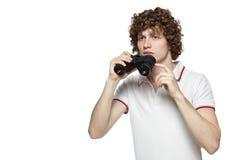 Homem com binocular Fotografia de Stock