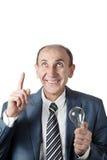 Homem com bulbo Foto de Stock Royalty Free
