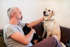 Homem com cães em casa Proprietário que senta-se em um sofá junto Fotos de Stock