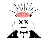 Homem com cérebro expor Fotos de Stock Royalty Free
