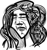 Homem com cabelo longo Fotografia de Stock