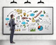 Homem com café com um plano de negócios, whiteboard Fotos de Stock