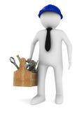 Homem com caixa de ferramentas de madeira ilustração royalty free